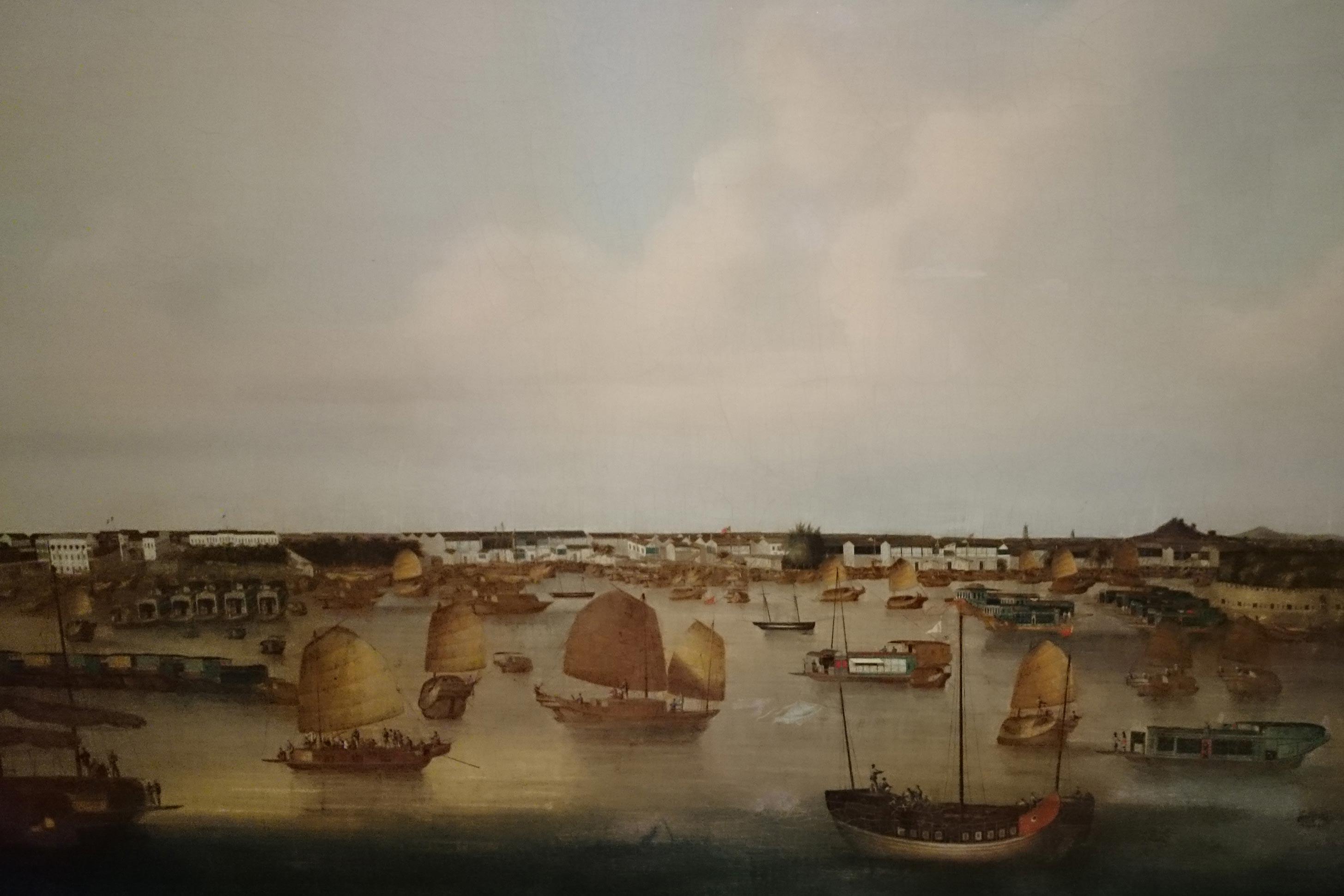 Anoniem-Zicht-op-de-haven-van-Kanton-1845-1855