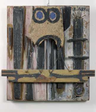 Appel Drift op Zolder 1947 assemblage olieverf op hout, kurk en andere materialen