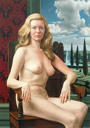 Carel Willink-1977-Sylvia-naakt-in-stoel-gezeten