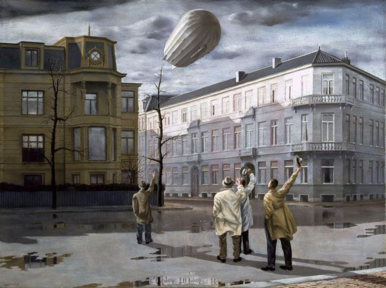 De zeppelin (1933), Stadhouderskade hoek P.C. Hooftstraat (schilderij)