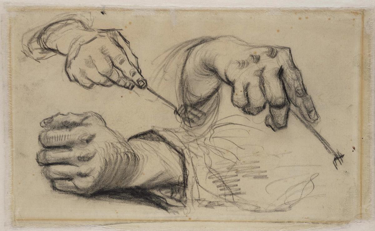 Vincent van Gogh Drie handen met vork tekening