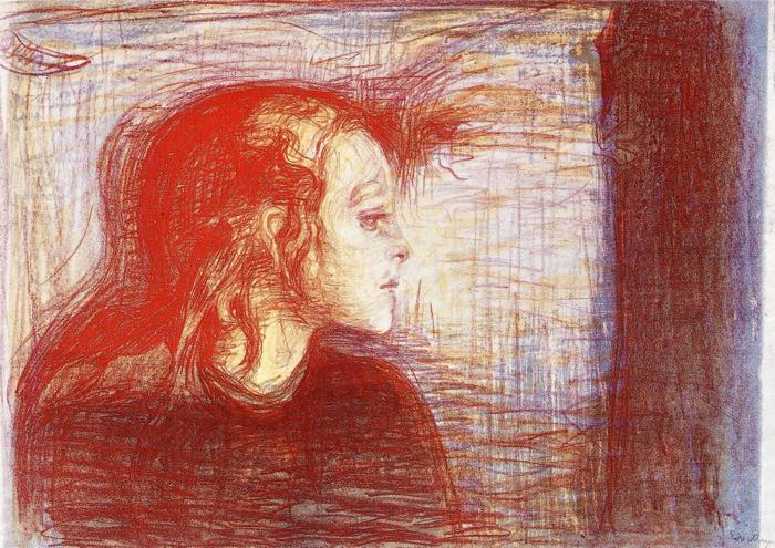 Edvard Munch The sick child litho