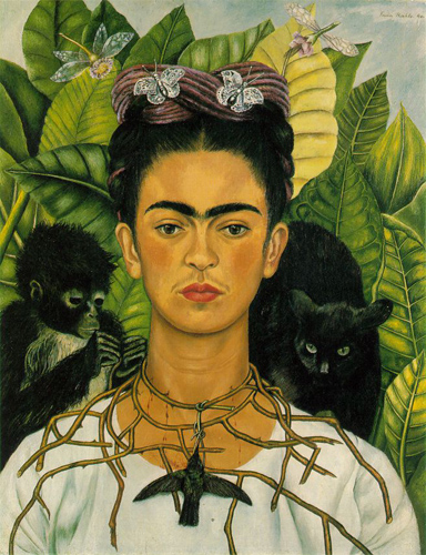 Frida Kahlo Self-portrait with Thorn Necklace and Hummingbird