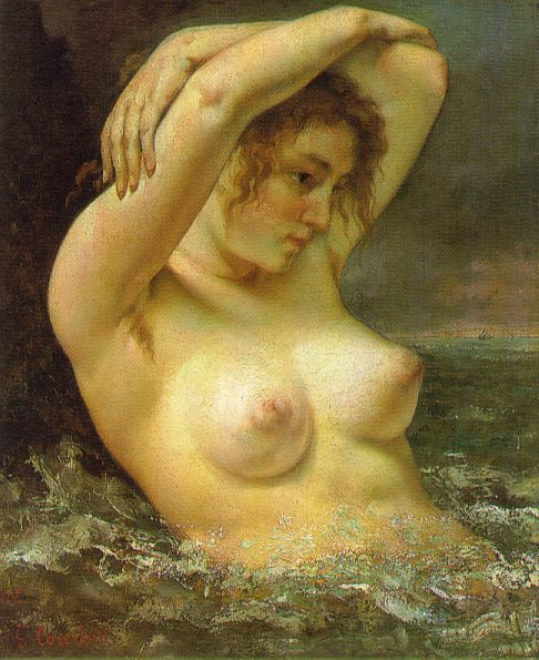 Gustave Courbet Baadster Woman in the waves