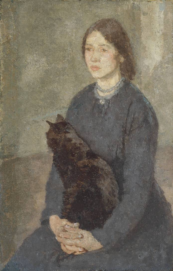 Gwen John Young Woman Holding a Black Cat c.1920-5