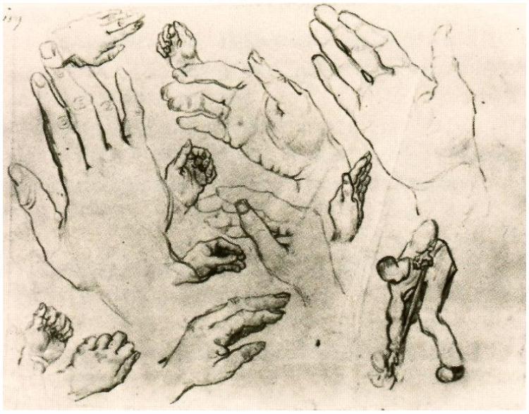 Vincent van Gogh Handen tekening