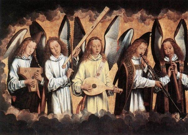 Hans Memling 1435-1494 Angel Musicians left panel 1480 Koninklijk Museum voor Schone Kunsten 1
