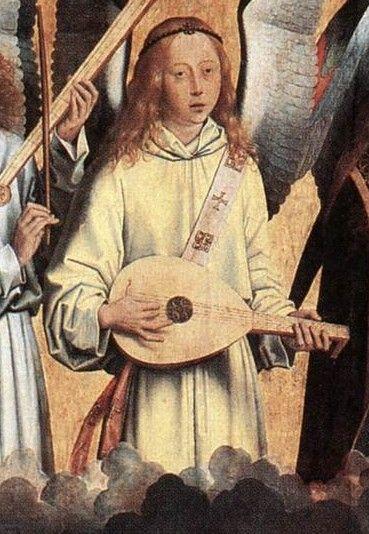 Hans Memling 1435-1494 Angel Musicians left panel 1480 Koninklijk Museum voor Schone Kunsten detail