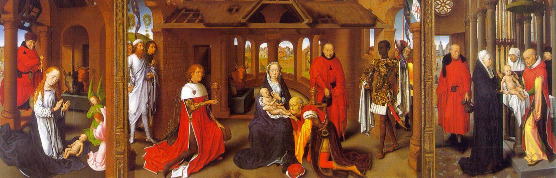 Hans Memling Triptiek met de geboorte, aanbidding der wijzen en de presentatie in de tempel olieverf op paneel 1470