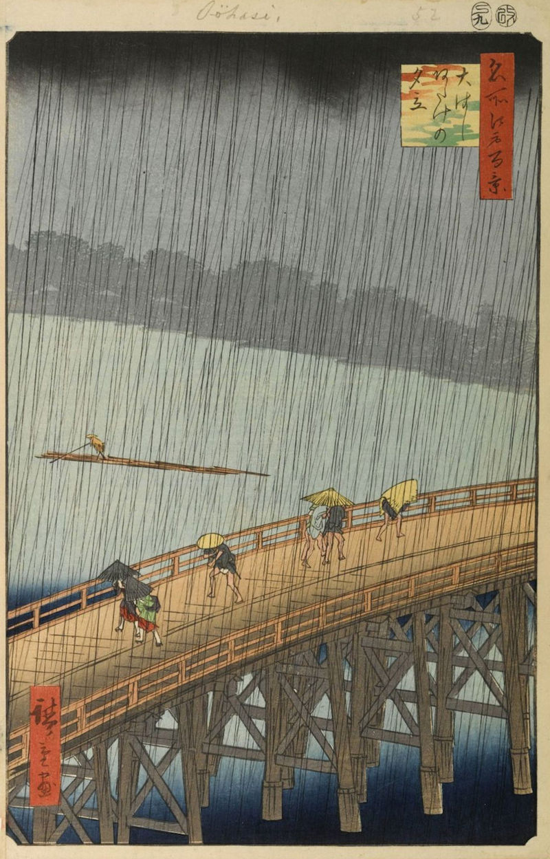 Hiroshige Sudden Shower Over Shin-Ohashi Bridge and Atake 1857