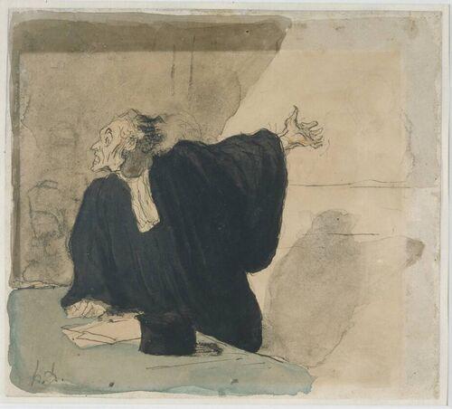 Honore Daumier Een pleitende advocaat