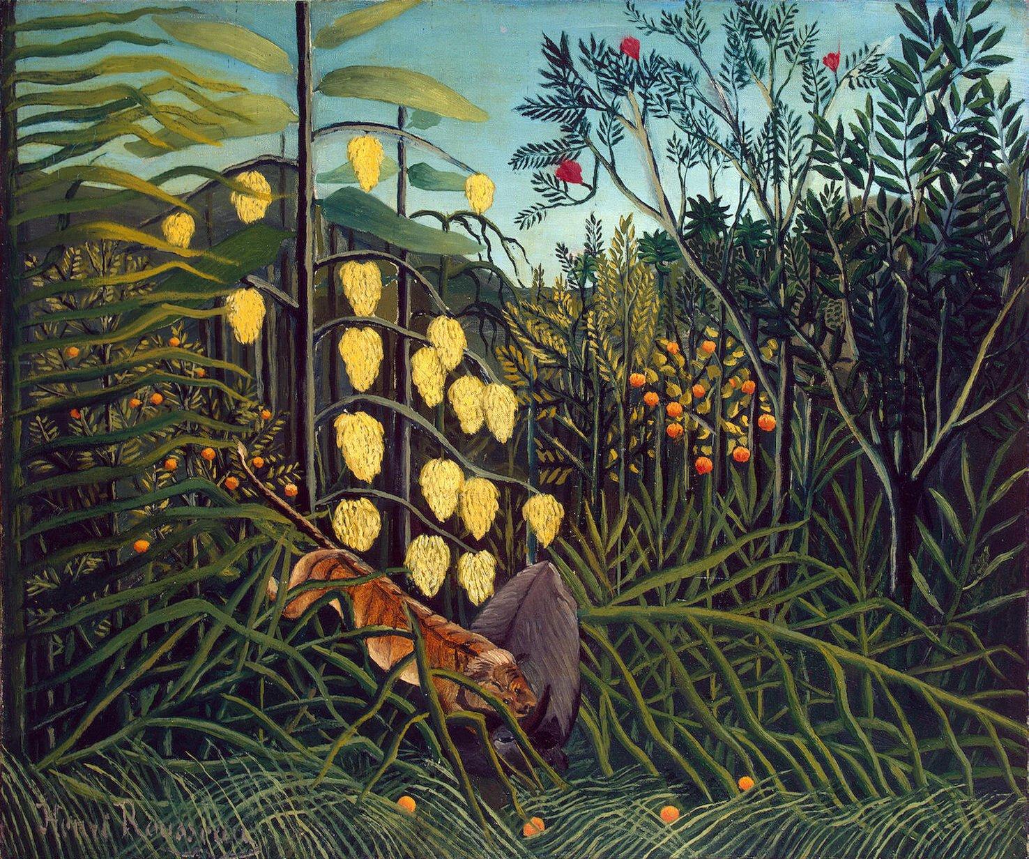 Henri Rousseau In een tropisch woud