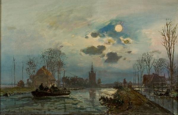 Johan Barthold Jongkind Maannacht bij Overschie 1864