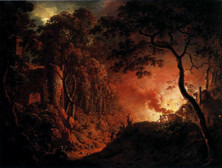 Joseph Wright of Derby A Cottage on Fire