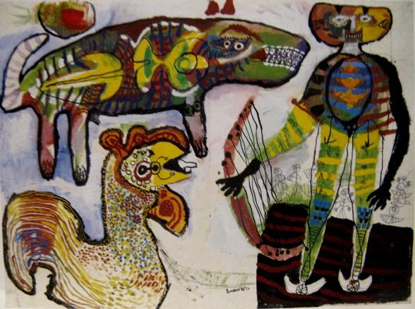 Lucebert Orfeus_en_de_dieren gouache en potlood op papier 1952
