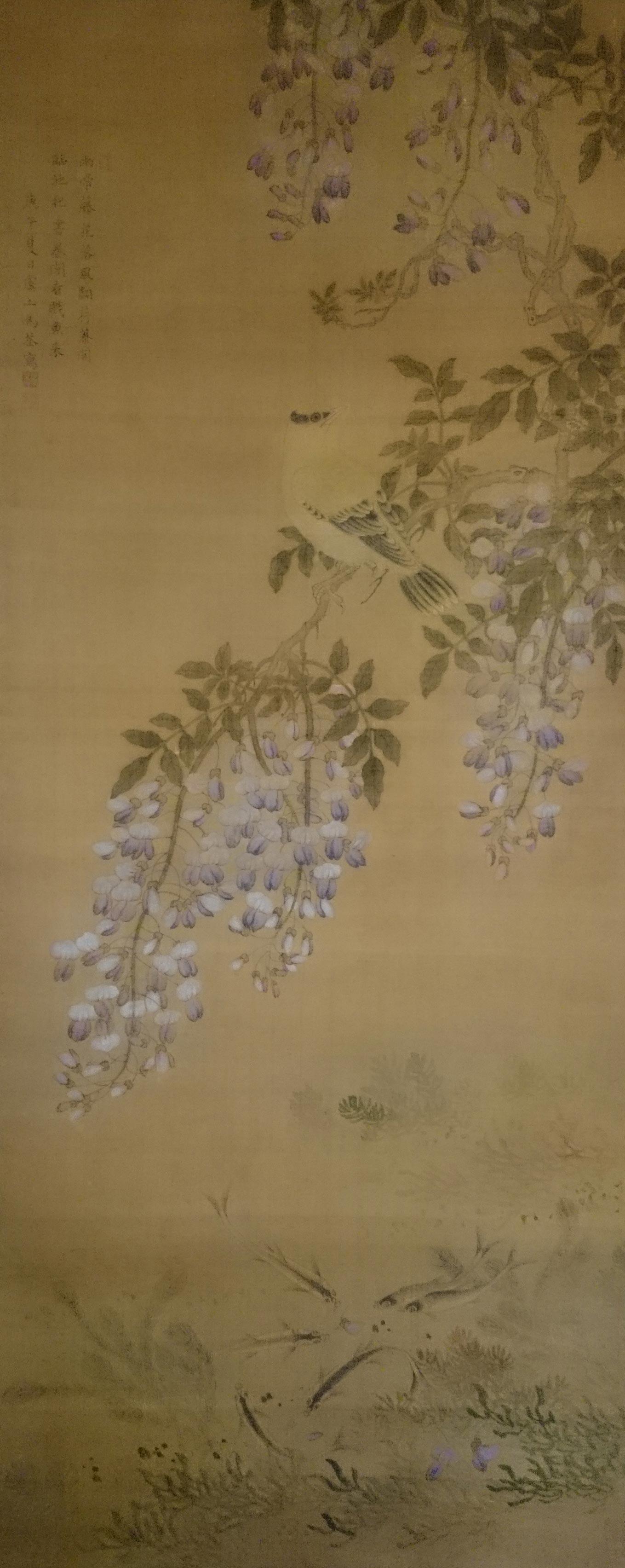 Ma-Quan-Bloem--en-vogelschilderij-hangrolschilderij-inkt-op-zijde