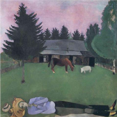Marc Chagall The poet reclining 1915