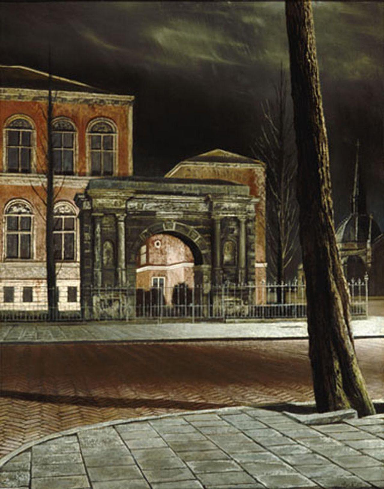 Museum bij avond (1950), Rijksmuseum, hoek Jan Luijkenstraat en Paulus Potterstraat, met Groningse poort  (schilderij)