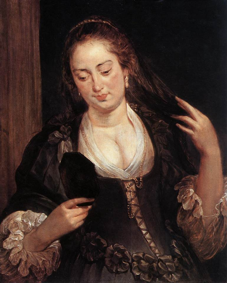 Peter Paul Rubens Woman with a mirror The painting is an allegory of vanitas and finished by Jan Boeckhorst