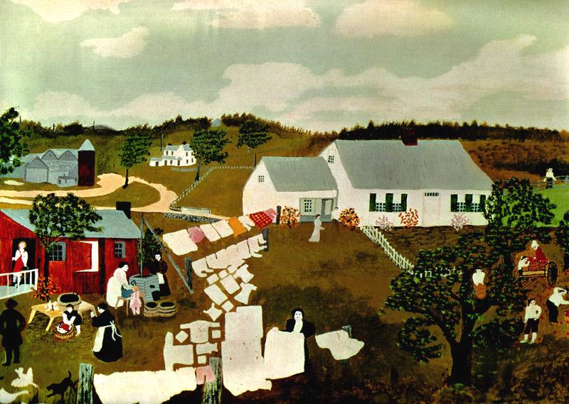Robertson Moses, Anna Mary (Grandma Moses) Wash-day-1945