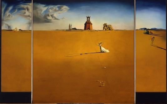 Salvador Dali, Landschap met touwtje springend meisje 1936