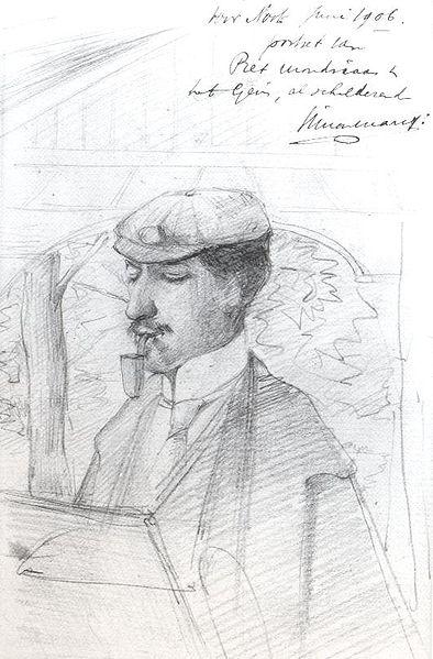 Simon Maris. Mondriaan schilderend aan het Gein. 1906