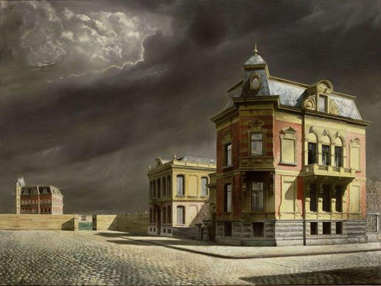 Stadsgezicht (1934), Vondelstraat 13, hoek Tesselschadestraat (schilderij)