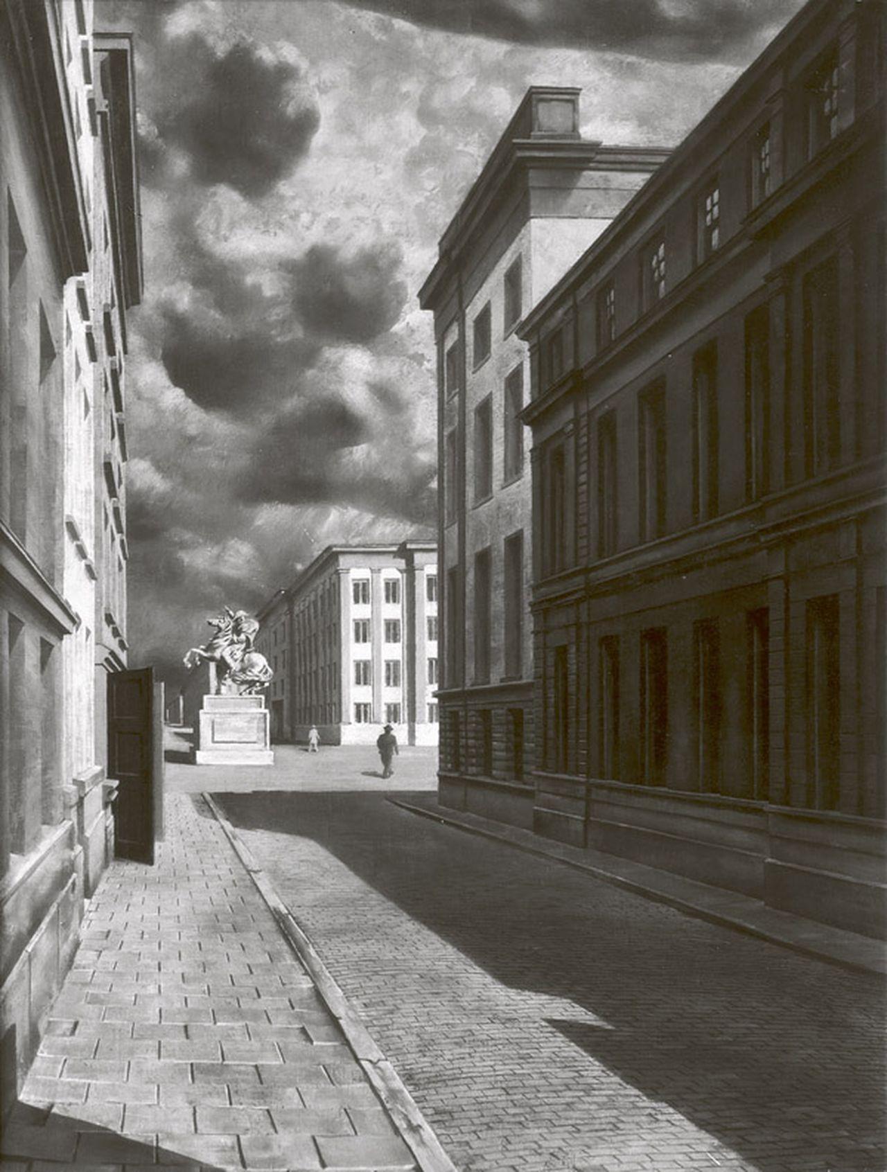 Straat met standbeeld (1934), Nieuwe Spiegelstraat 1-9, richting Herengracht (schilderij)