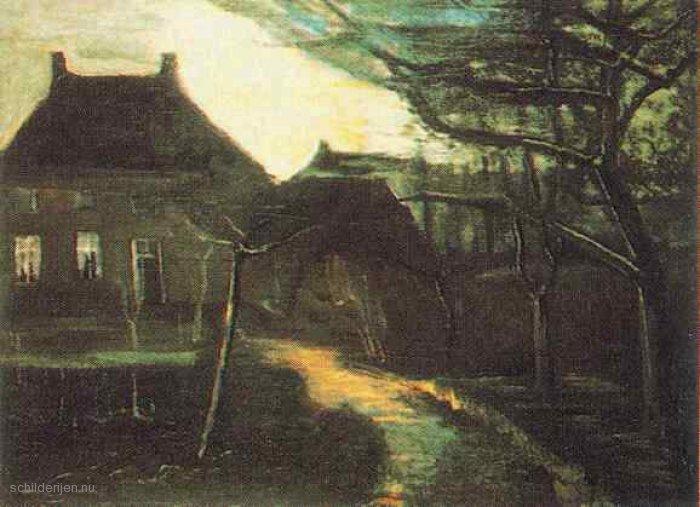 Vincent-van-Gogh-De-pastorie-te-Nuenen-bij-maanlicht