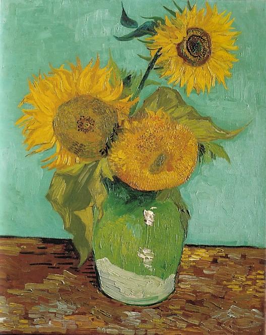 Vincent van Gogh Drie zonnebloemen in een vaas