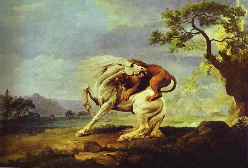 George Stubbs Horse attacked by a lion