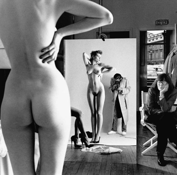 Helmut Newton: Self Portrait with Wife and Models, Vogue Studio, Paris, 1981