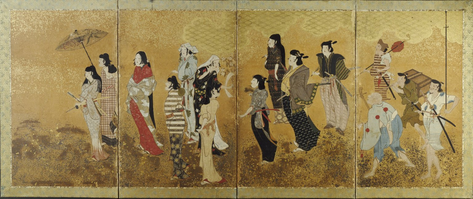Cherry Blossom Viewing Picnic, ca. 1624-1644. Ink, color and gold leaf on paper, (100 x 268.9cm)