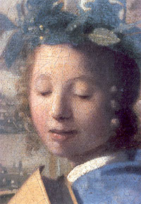 Johannes Vermeer Muze (detail of the painting called pictorial art)