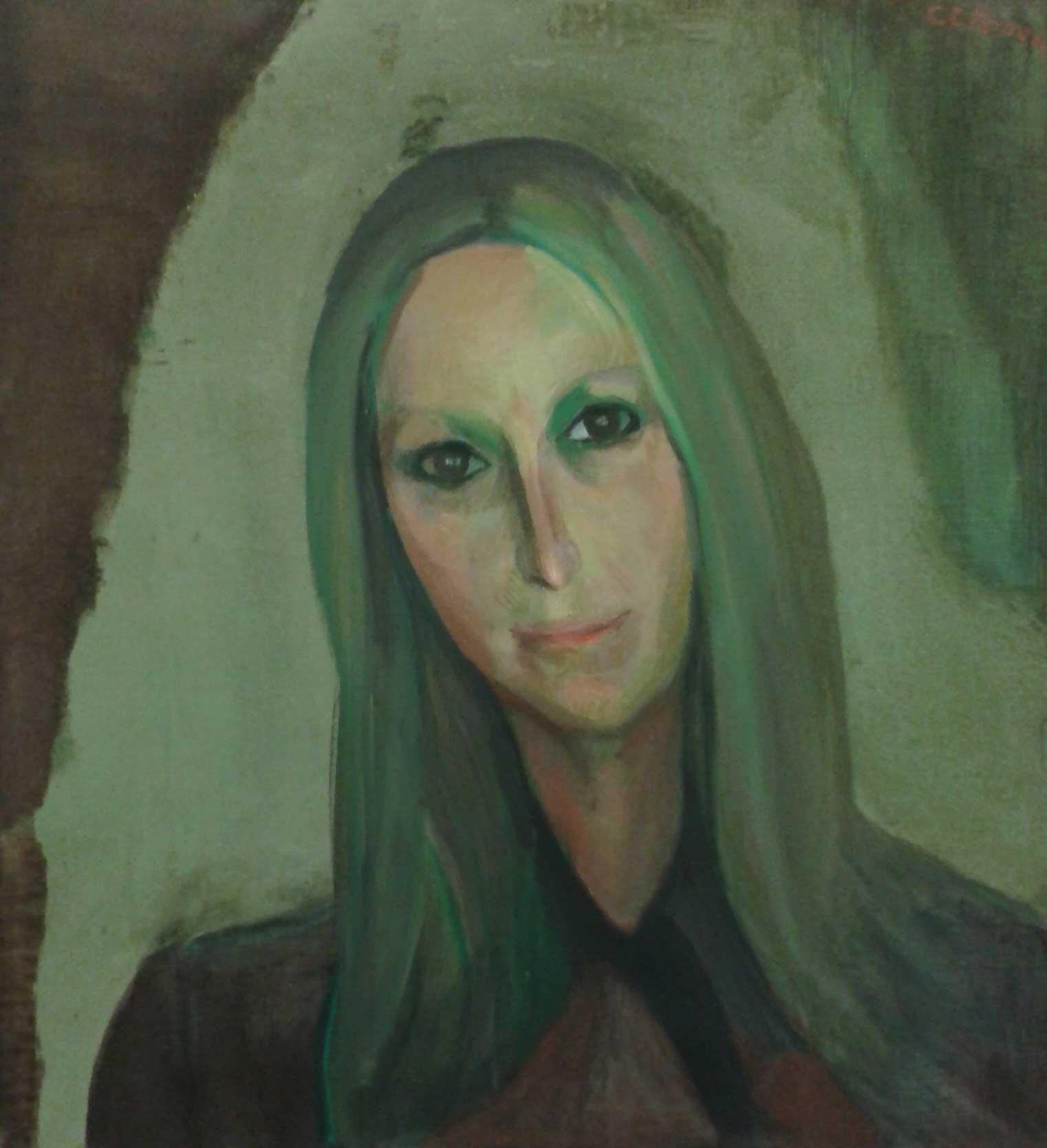 Paul Citroen Portret van een vrouw met lang haar tegen een groene achtergrond