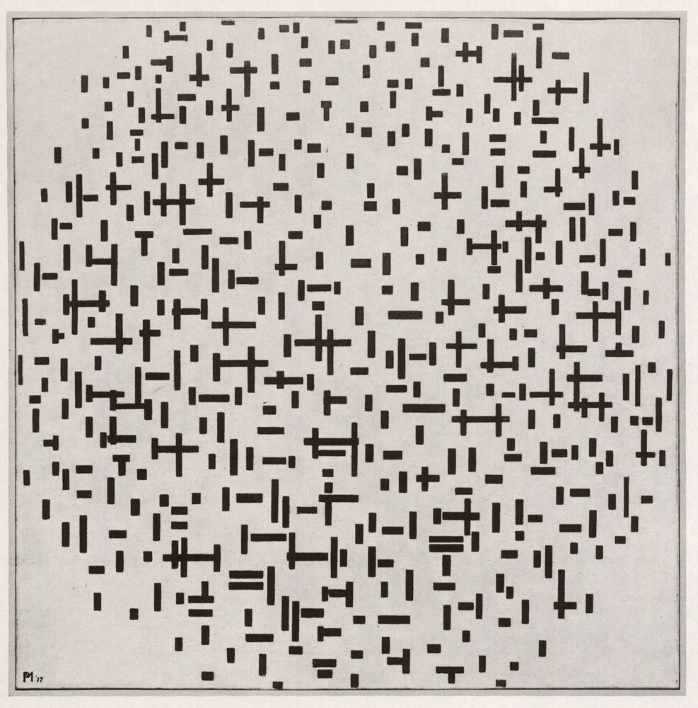 Piet Mondriaan Compositie in lijn, tweede staat 1916 17 olieverf op doek