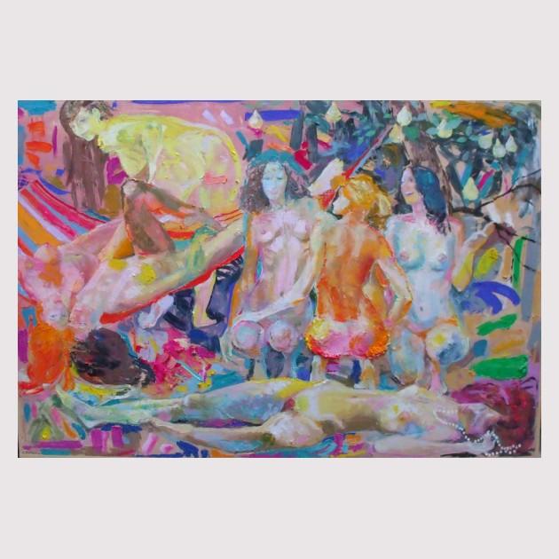 Tengiz Tcholokava Rest in the hammock 160x220 oil on canvas 2011