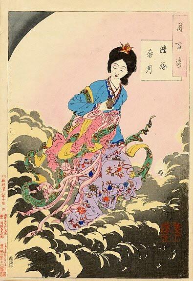 Tsukioka Yoshitoshi One Hundred Aspects of the Moon002 -Change flees to the moon