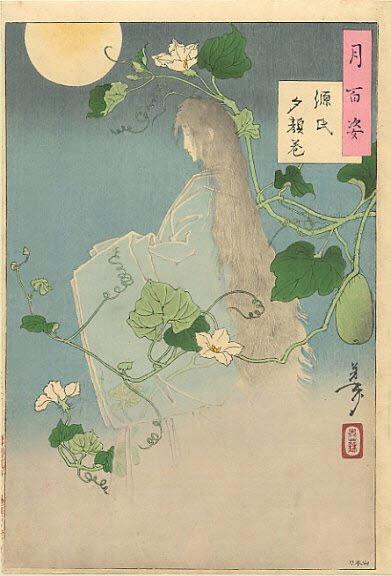 Tsukioka Yoshitoshi One Hundred Aspects of the Moon029 -The Yugao chapter from The Tale of Genji