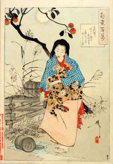 Tsukioka Yoshitoshi One Hundred Aspects of the Moon074 -Lady Chiyo and the broken water bucket