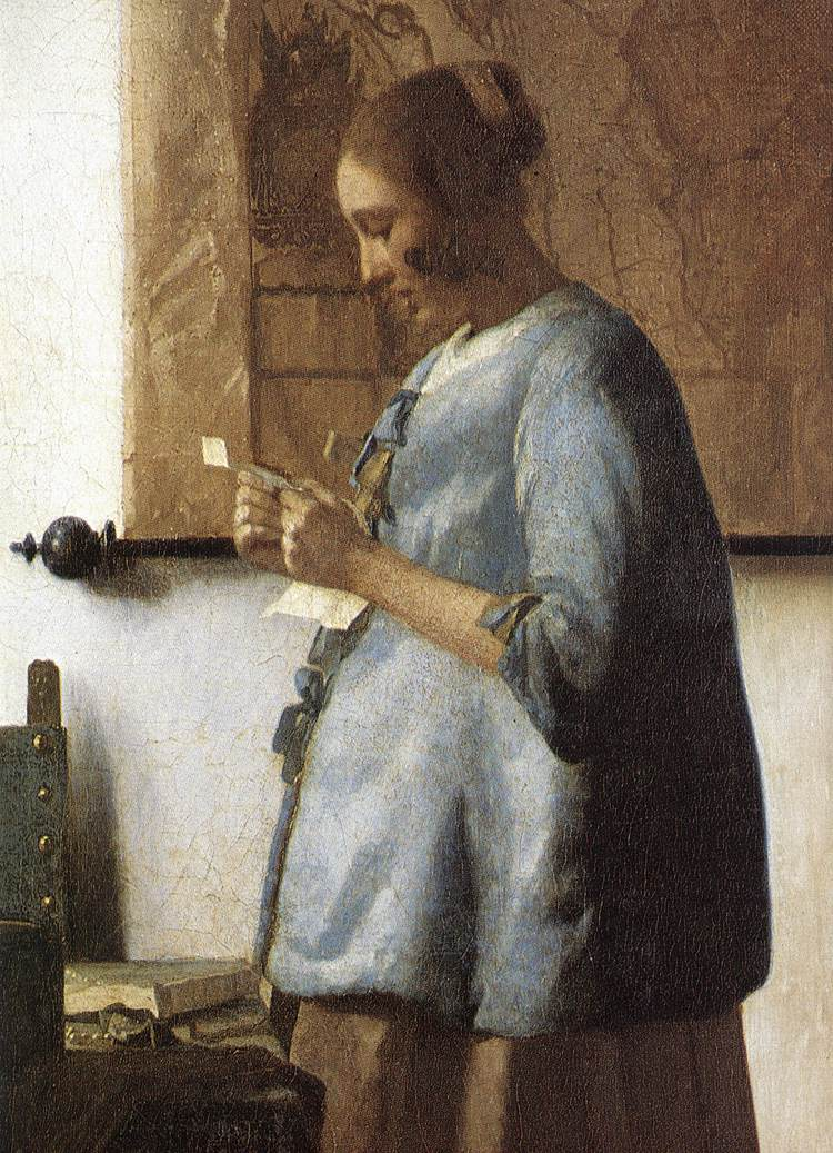 Johannes Vermeer Woman in Blue Reading a Letter (detail)