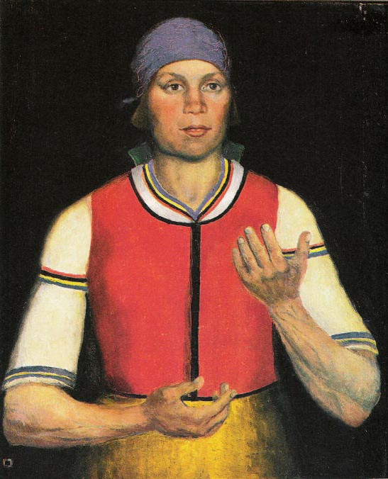 Kazimir Severinovitsj Malevitsj (1878 – 1935) 'De Arbeidster' (1933) olieverf op linnen 72 x 60 cm